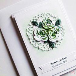 Kartka ŚLUBNA - zielone róże