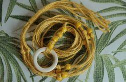 Unikatowy kwietnik makrama juta żółty boho