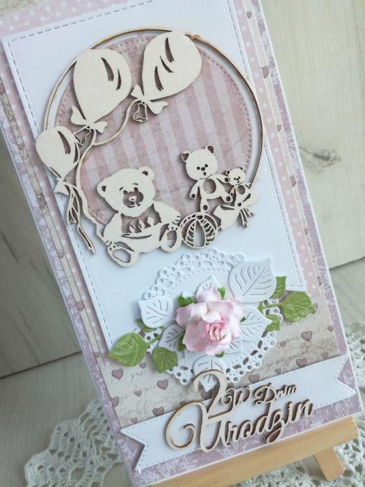Kartka 3D chrzest 2 urodziny różowa GOTOWA