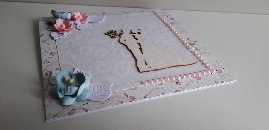 Kartka ślubna szaro-różowa para młoda delikat -