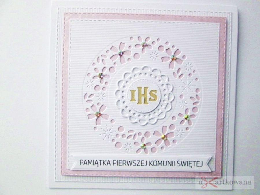 Kartka PAMIĄTKA I KOMUNII biało-różowa #2