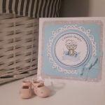 Kartka na Chrzest niebieska z misiem handmade