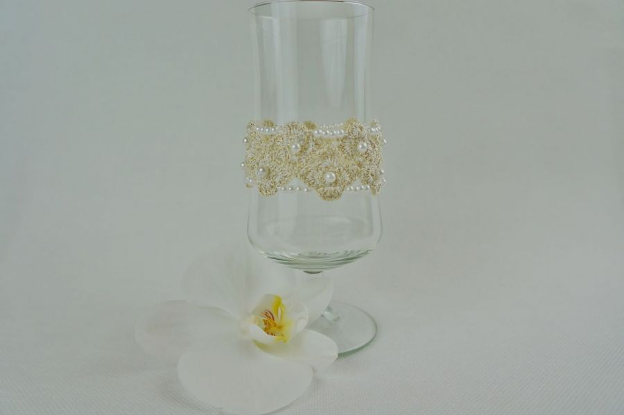 Bransoletka szydełkowa biało-złota  4 - Bransoletka pleciona