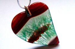 Pomarańczowo-zielone serce, agat z kryształem