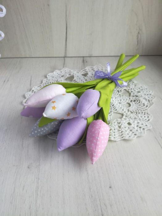 Tulipany z bawełny bukiet fiolet Dzień Matki
