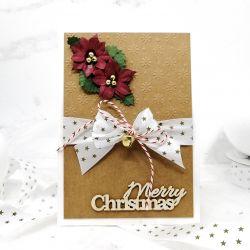 Kartka świąteczna eko wstążka kwiaty BNR 026