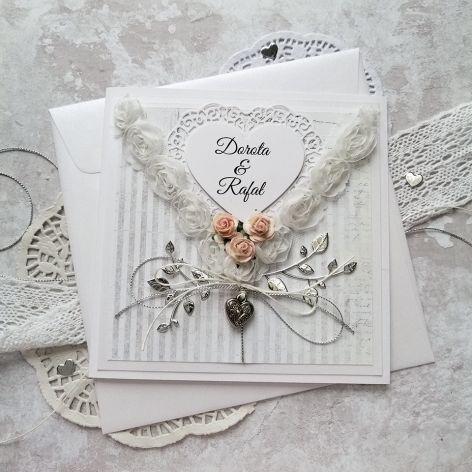 kartka na ślub szaro srebrna SLB 032