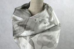 Szaro-srebrna Roślinna, jedwabna chusta