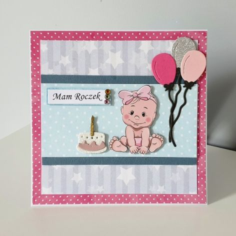 Kartka na Roczek dziewczynka baloniki