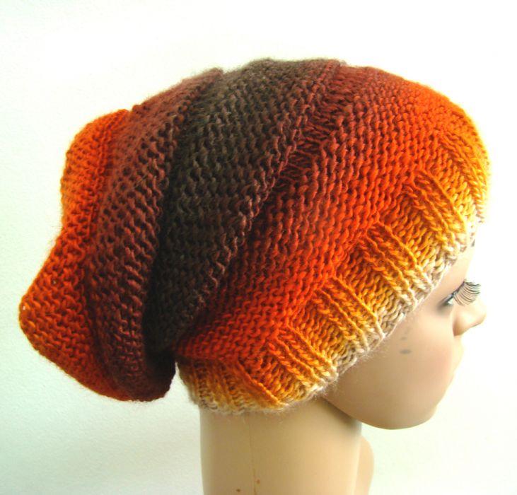 długa czapka w ognistych barwach - bok i góra
