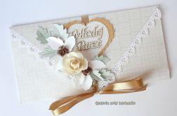 Kopertówka, kartka na ślub beżowa