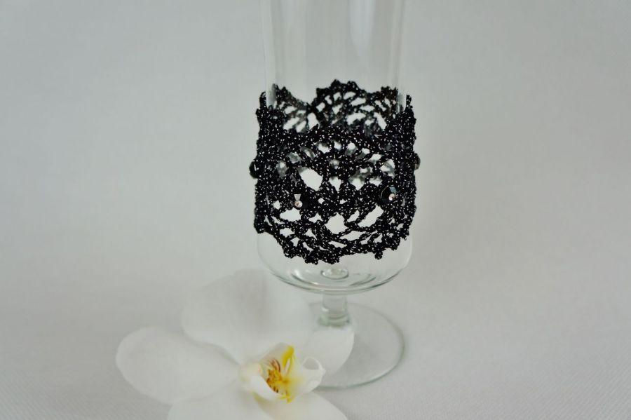 Bransoletka szydełkowa czarno-srebrna 5 - Bransoletka handmade