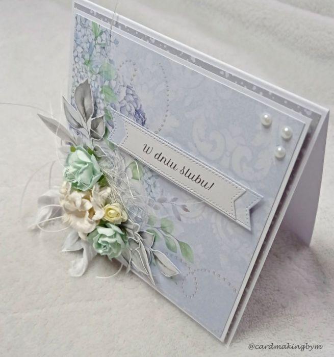 Kartka ślubna z papierowymi kwiatami - Przód