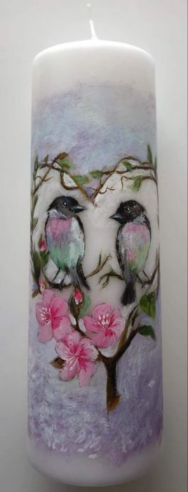 świeca malowana ręcznie- ślub,zakochane ptaki