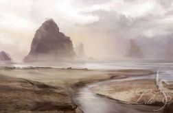 Obraz - Skały - płótno - malowany, pejzaż, krajobraz