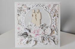 Romantyczna Kartka na Ślubna ręcznie robiona scrapbooking ślub