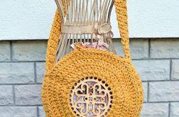 Okrągła torebka musztardowa, sznurkowa