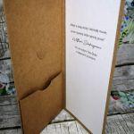 Kartka ślubna z motywem drewna 07 - kartka slubna z kieszonką na pieniądze