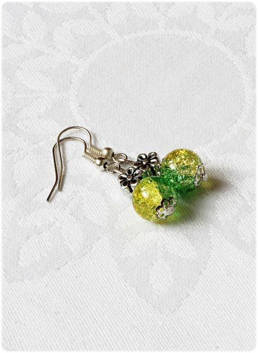 Zielona crackle z kwiatkiem