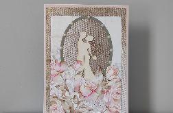 Kartka na ślub ślubna z kwiatami duża A5