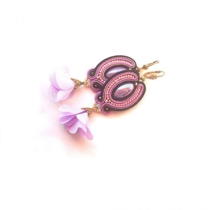 Kolczyki Sutasz kwiatki fiolet i czerń