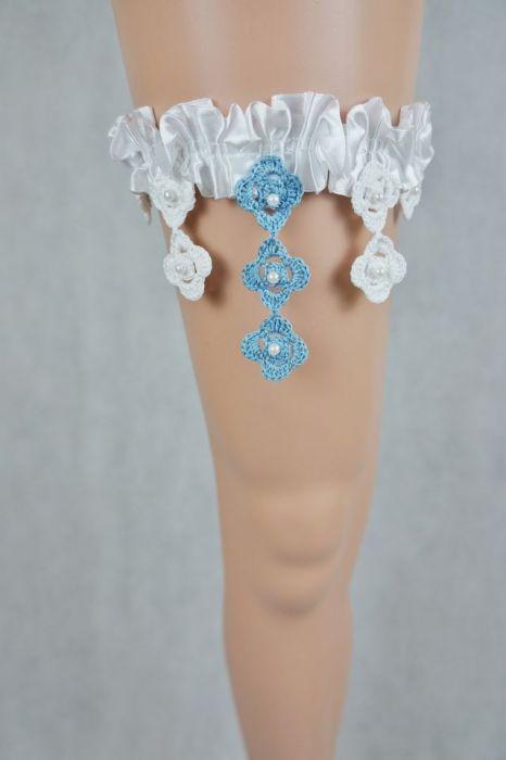 Podwiązka ślubna biała z niebieskim - podwiązka biało niebieska