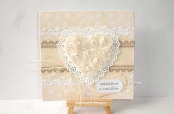 Beżowa kartka ślubna