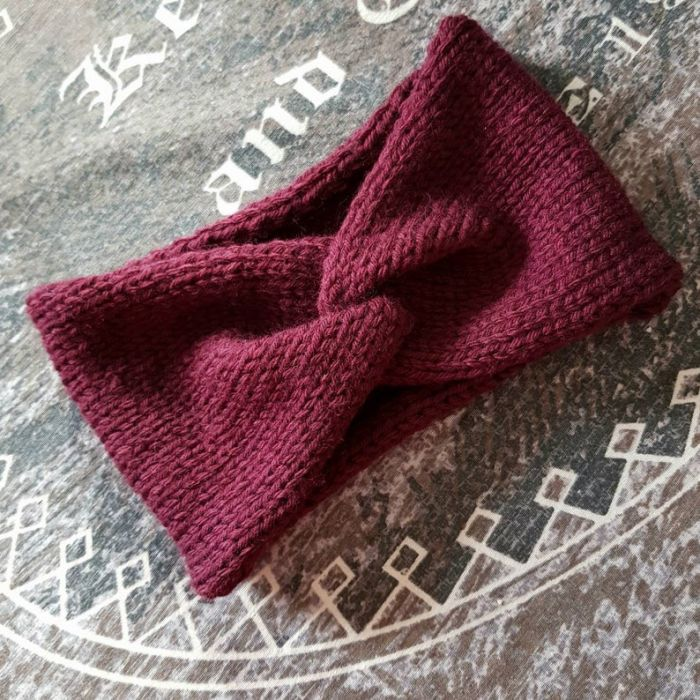 Zimowa opaska retro, burgund - opaska turban