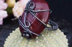 Mokait, srebrny pierścionek z mokaitem