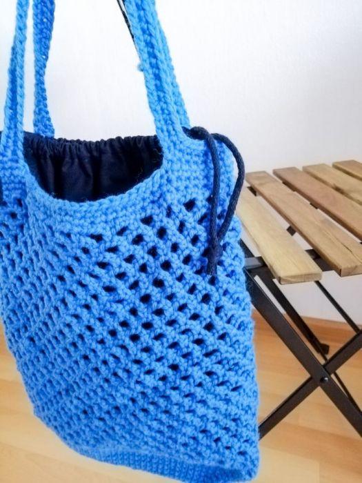 Torba ,siatka na zakupy, niebieska,z organize
