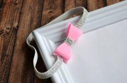 FairyBows opaska kokardka różowa + srebrny
