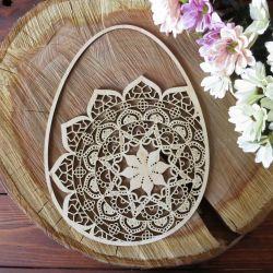 Drewniane Jajo z Mandalą 1