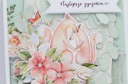 Akwarelowe lisy kartka ślubna