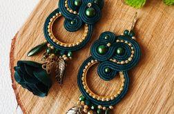Zielono-złote kolczyki z perłami Swarovski