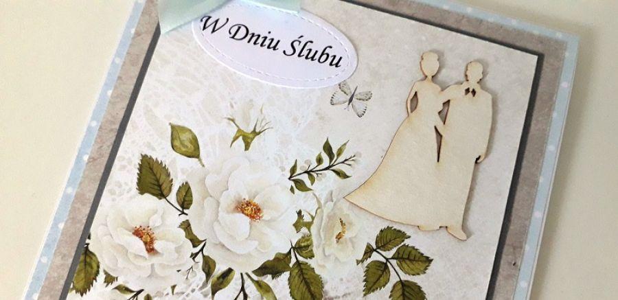 Kartka ślubn na ślub para młoda kwiaty kok -
