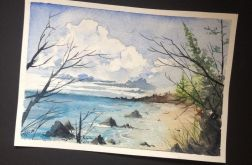 Obraz akwarela do salonu morze ocean ozdoba