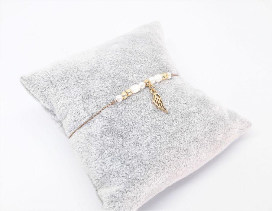 Bransoletka perły i srebro na nitce jedwabnej - Biżuteria na prezent na nitce z naturalnymi kamieniami dla żony, narzeczonej, dziewczyny, kobiety, mamy, córki, siostry, przyjaciółki