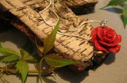 Czerwony koral i srebro, róże - naszyjnik i kolczyki