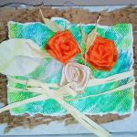 kartka  z  pomarańczowymi różami