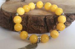Żółta bransoletka z jadeitów i hematytów