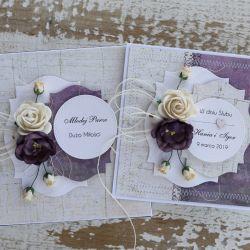 Kwiatowa kartka ślubna z pudełkiem Az2