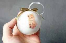 Bombki choinkowe białe złote kotki