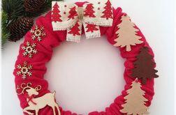 Wianek świąteczny czerwień z beżem