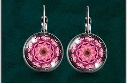 Kolczyki - Mandala różowy kwiat