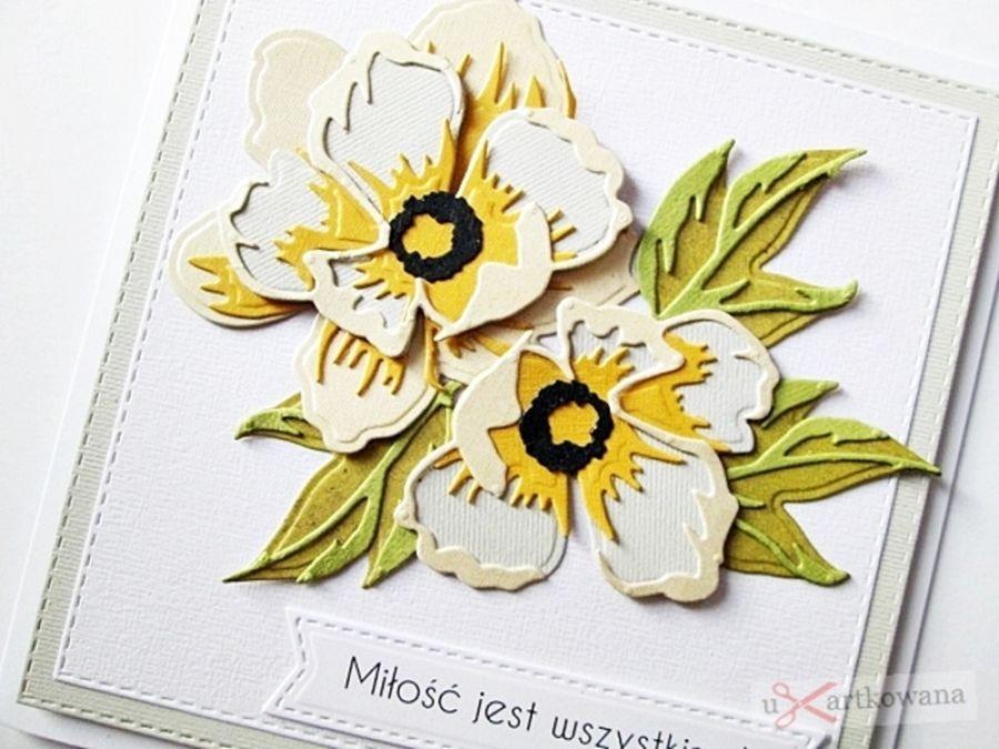 Kartka ŚLUBNA popielato-kremowa - Kartka na ślub z popielato-kremowymi kwiatami