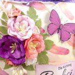 Dla Babci - fioletowo-morelowa z piórami