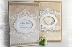Kartka-książka ślubna w brązach