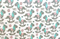 Tkanina bawełna dla dzieci koniki