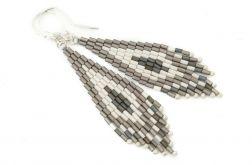 Kolczyki indiańskie srebro Toho szary i ecru