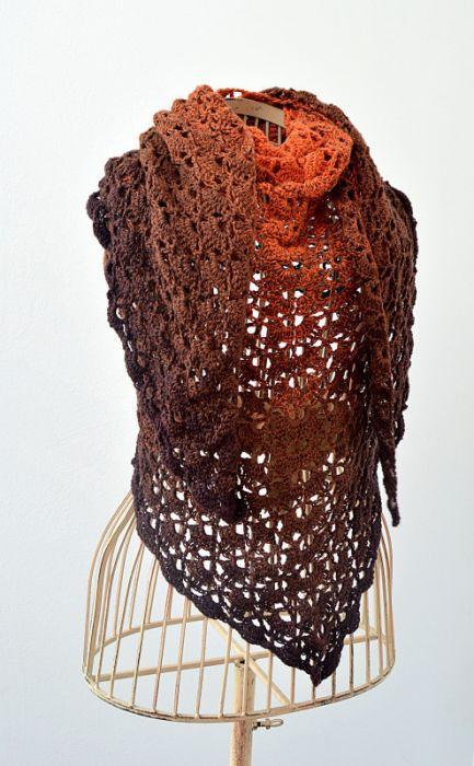 Chusta ombre czekoladowo-ruda, kolory ziemi